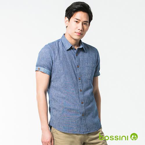 bossini男裝-休閒棉麻短袖襯衫