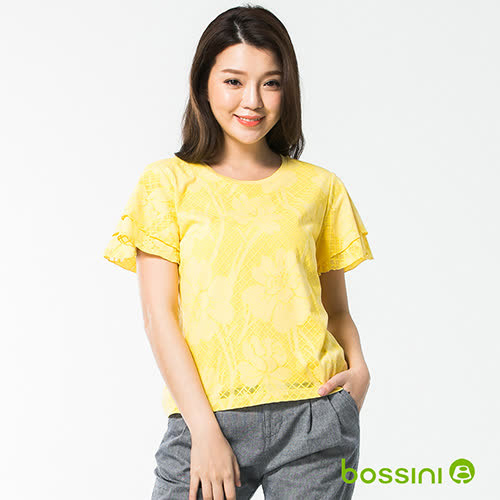 bossini女裝-圓領短袖造型上衣