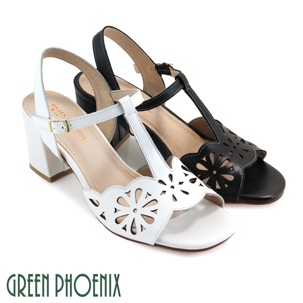 【GREEN PHOENIX】寬版花邊T字雷射雕花扣環全真皮粗高跟涼鞋