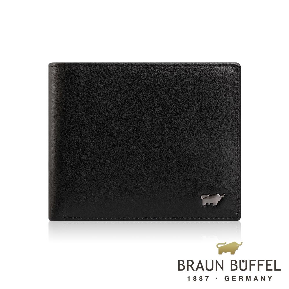 【BRAUN BUFFEL】德國小金牛 防盜系列8卡中翻零錢袋皮夾(慕尼黑) BF324-N318-BK