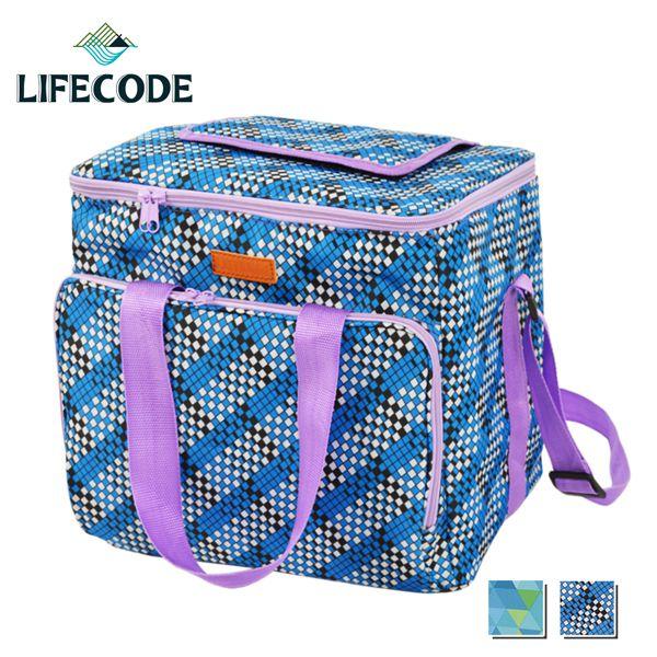 【LIFECODE】法頌肩背野餐保冰袋/保冷袋/保溫袋-2色選擇
