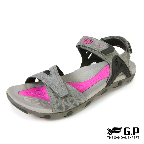 【G.P 大地色調特色涼鞋】G7685W-灰色(SIZE:36-39 共二色)