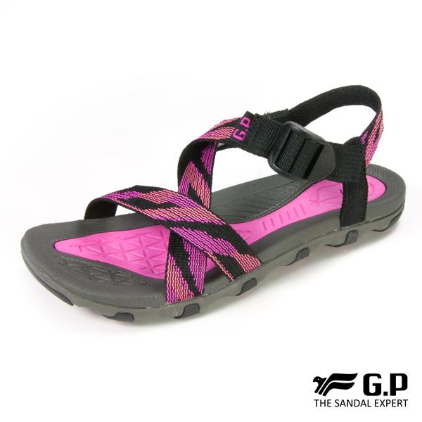 【G.P 女款交叉織帶涼鞋】G7686W-黑桃色(SIZE:36-39 共二色)