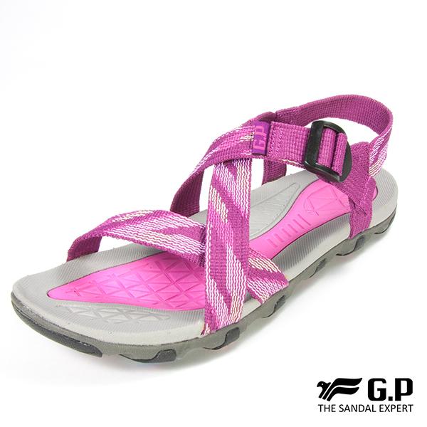 【G.P 女款交叉織帶涼鞋】G7686W-桃紅色(SIZE:36-39 共二色)