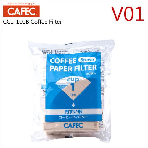 日本三洋CC1-100B V01無漂白咖啡濾紙100枚*4袋(1-2杯用) HG5565