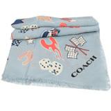 COACH 可愛圖案羊毛披肩絲巾.淺藍