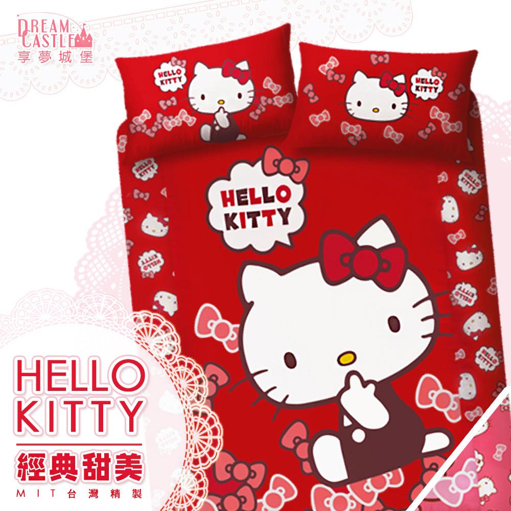 【享夢城堡】雙人加大床包兩用被套四件式組-HELLO KITTY 經典甜美-粉.紅