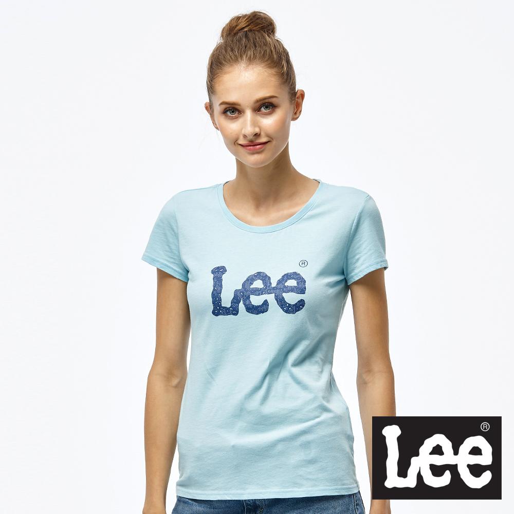 Lee 蕾絲LOGO短袖圓領TEE/RG-女款-藍