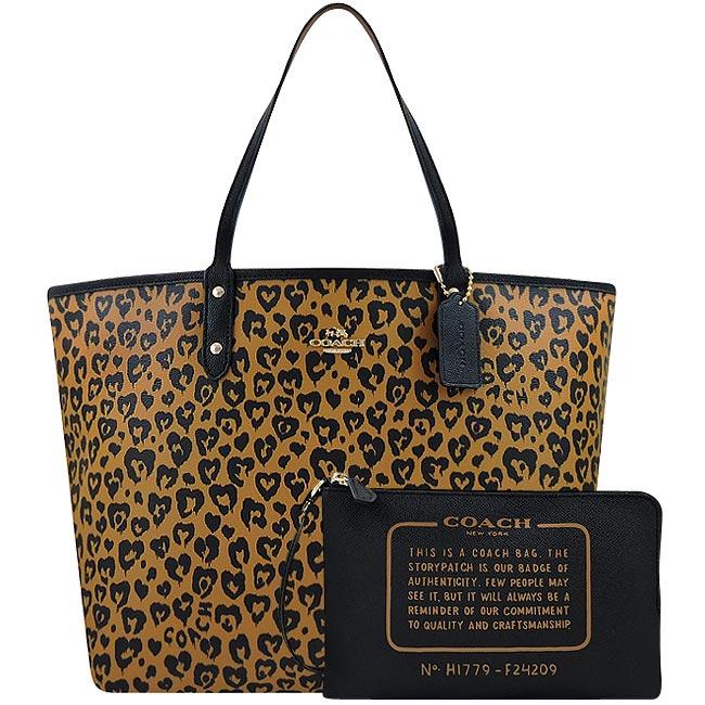 COACH 豹紋愛心PVC雙面托特包-大型/附手拿包(咖啡色)