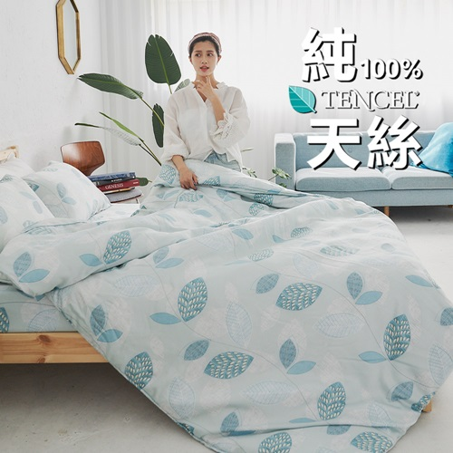 BUHO《碧水緲色》100%TENCEL純天絲舖棉兩用被床包組-雙人加大