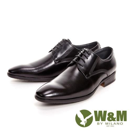 【W&M】亮皮簡約刷紋紳士綁帶男皮鞋-黑