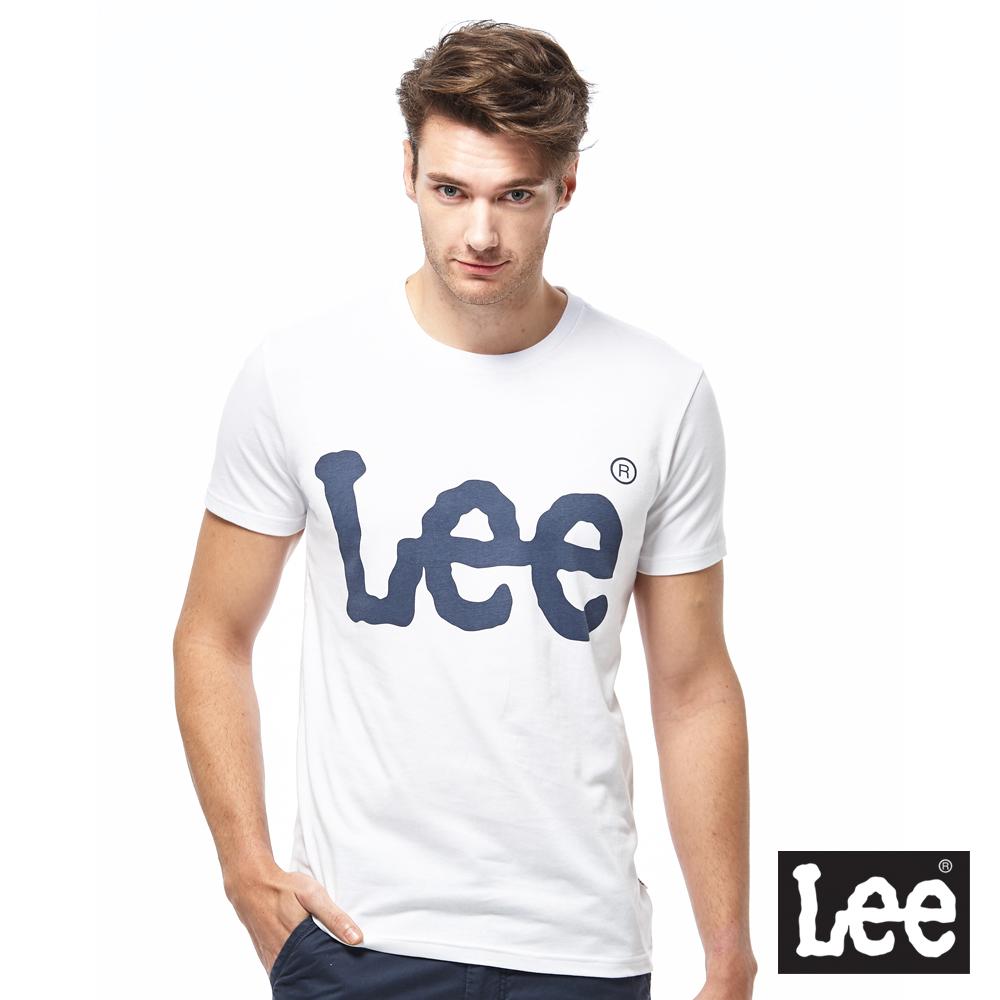 Lee 金屬感LOGO短袖圓領TEE-男款-白