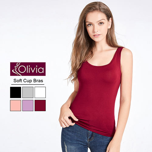 【Olivia】無鋼圈莫代爾Bra美型背心(酒紅)