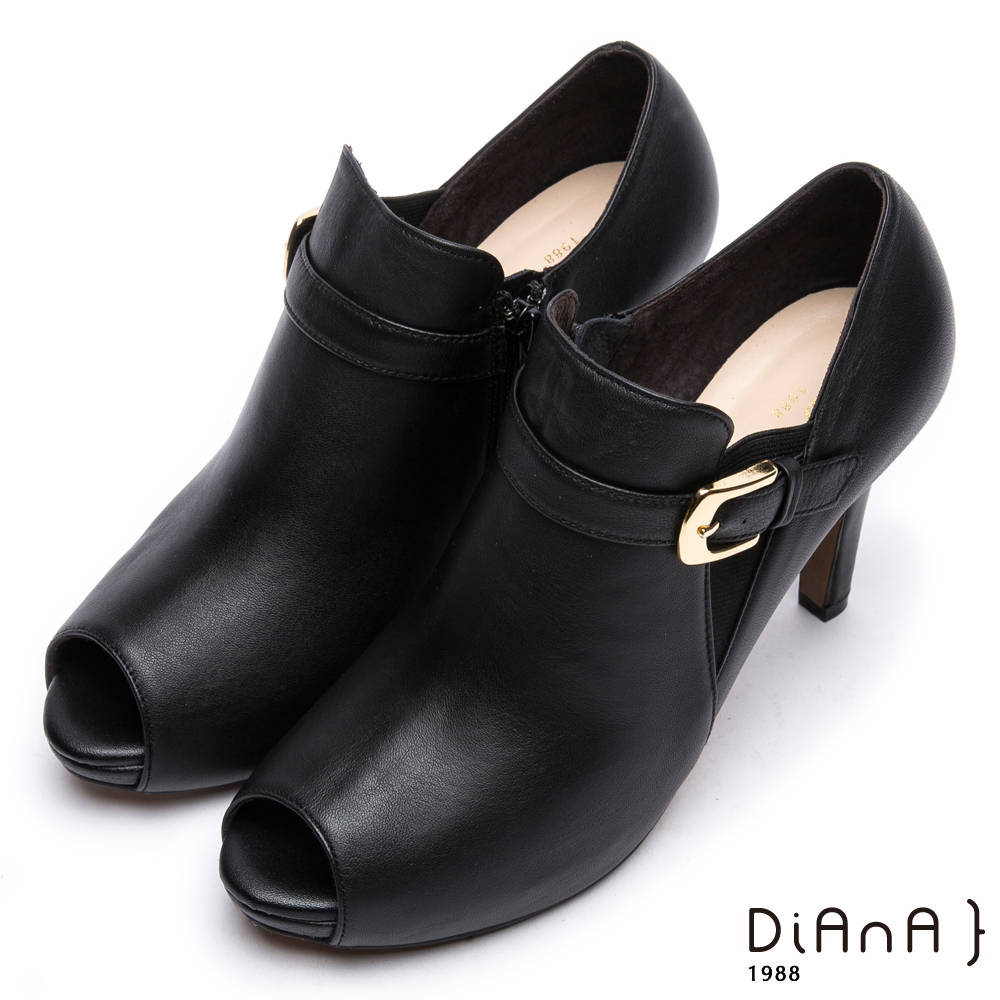 DIANA 時尚美型--原色流線型腳踝繫帶魚口跟鞋 -黑