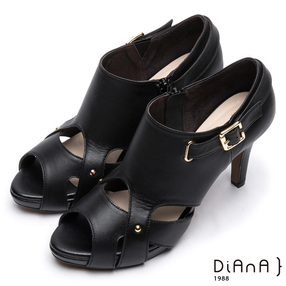 DIANA 時尚美型--原色流線型腳踝繫帶魚口跟鞋 –黑