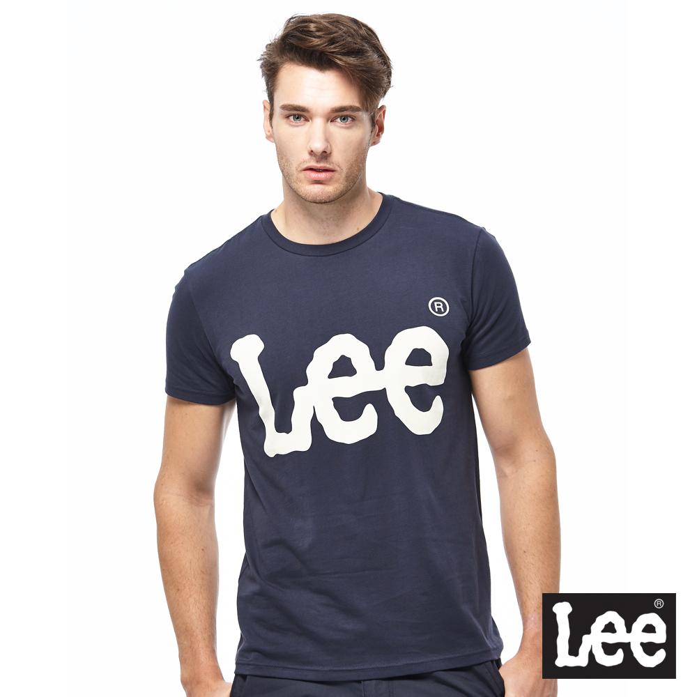 Lee 金屬感LOGO短袖圓領TEE-男款-藍