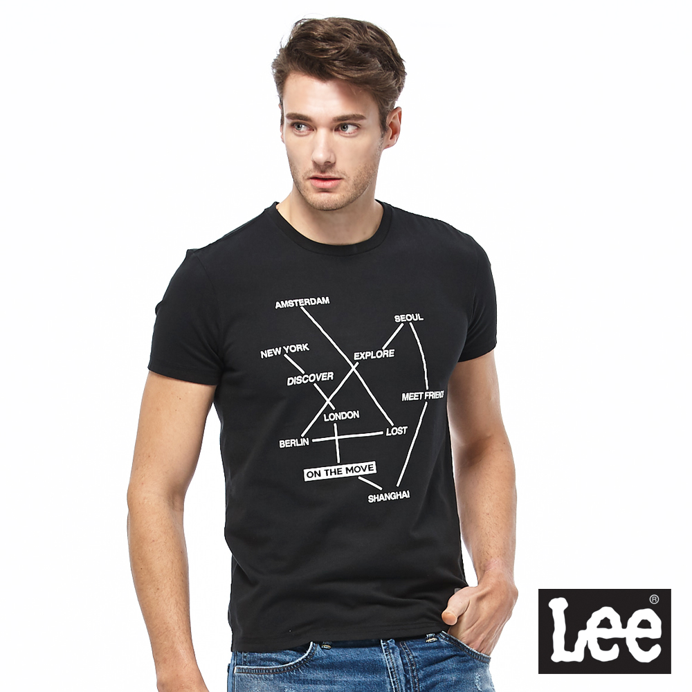 Lee 路線圖短袖圓領TEE-男款-黑