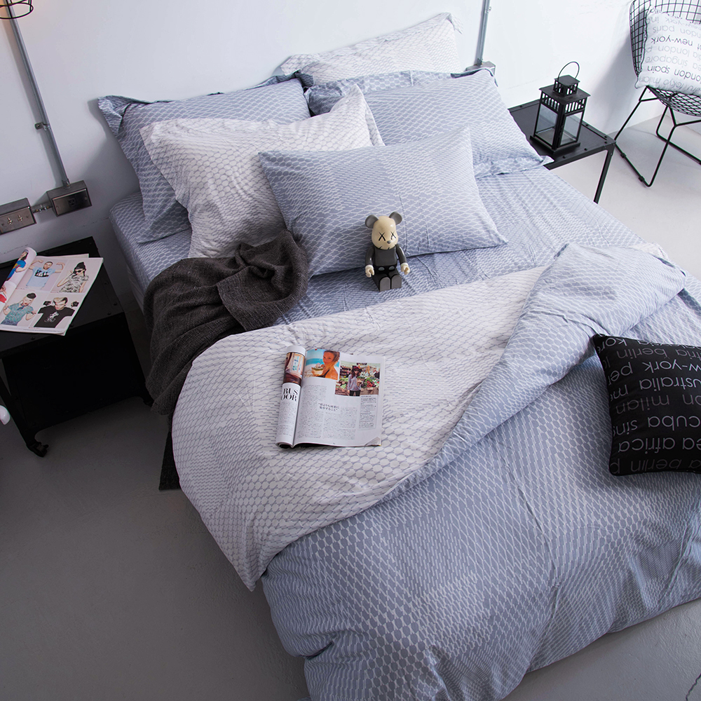 OLIVIA 《 蘭斯洛 銀灰 》 特大雙人床包被套四件組 工業風格系列 MIT原創設計