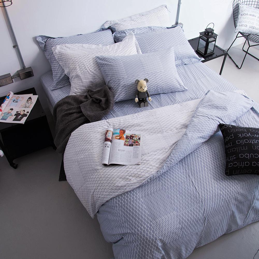OLIVIA 《 蘭斯洛 銀灰 》特大雙人兩用被套床包四件組 工業風格系列 MIT原創設計