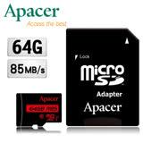 夜殺-Apacer宇瞻 64GB MicroSDHC UHS-I Class10記憶卡(85MB/s)