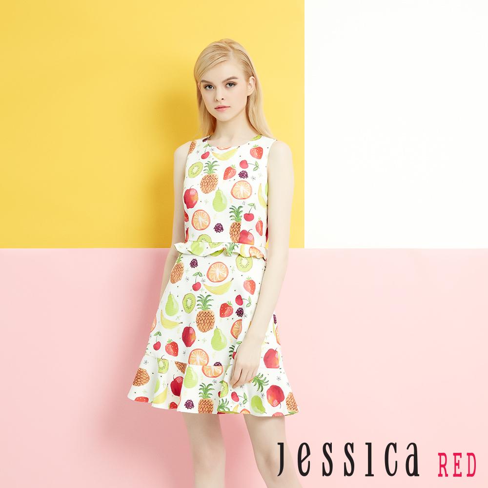 JESSICA RED - 假兩件式繽紛水果洋裝