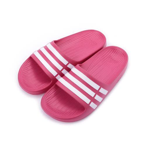ADIDAS DURAMO SLIDE K 一體成型套式拖鞋 桃白 G06797 小童鞋 鞋全家福