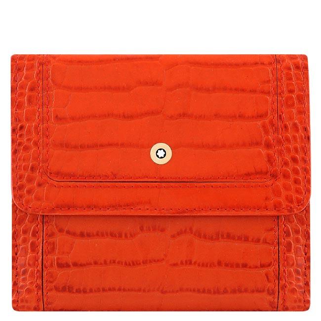 MONT BLANC 萬寶龍 小牛皮鱷魚紋壓釦中夾-橘紅色