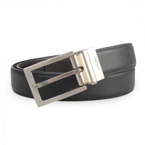 Calvin Klein 都會風格金屬穿式皮帶-黑/咖啡
