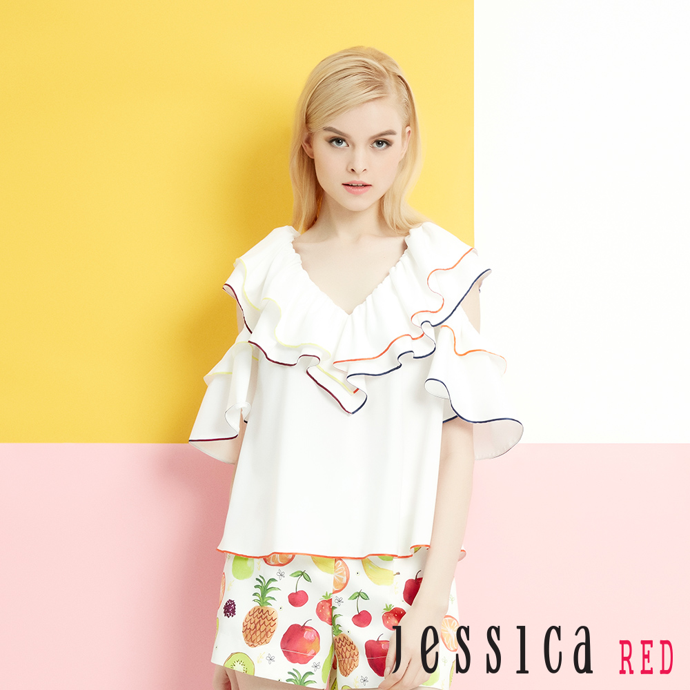 JESSICA RED - V領荷葉彩色滾邊挖肩上衣(白)