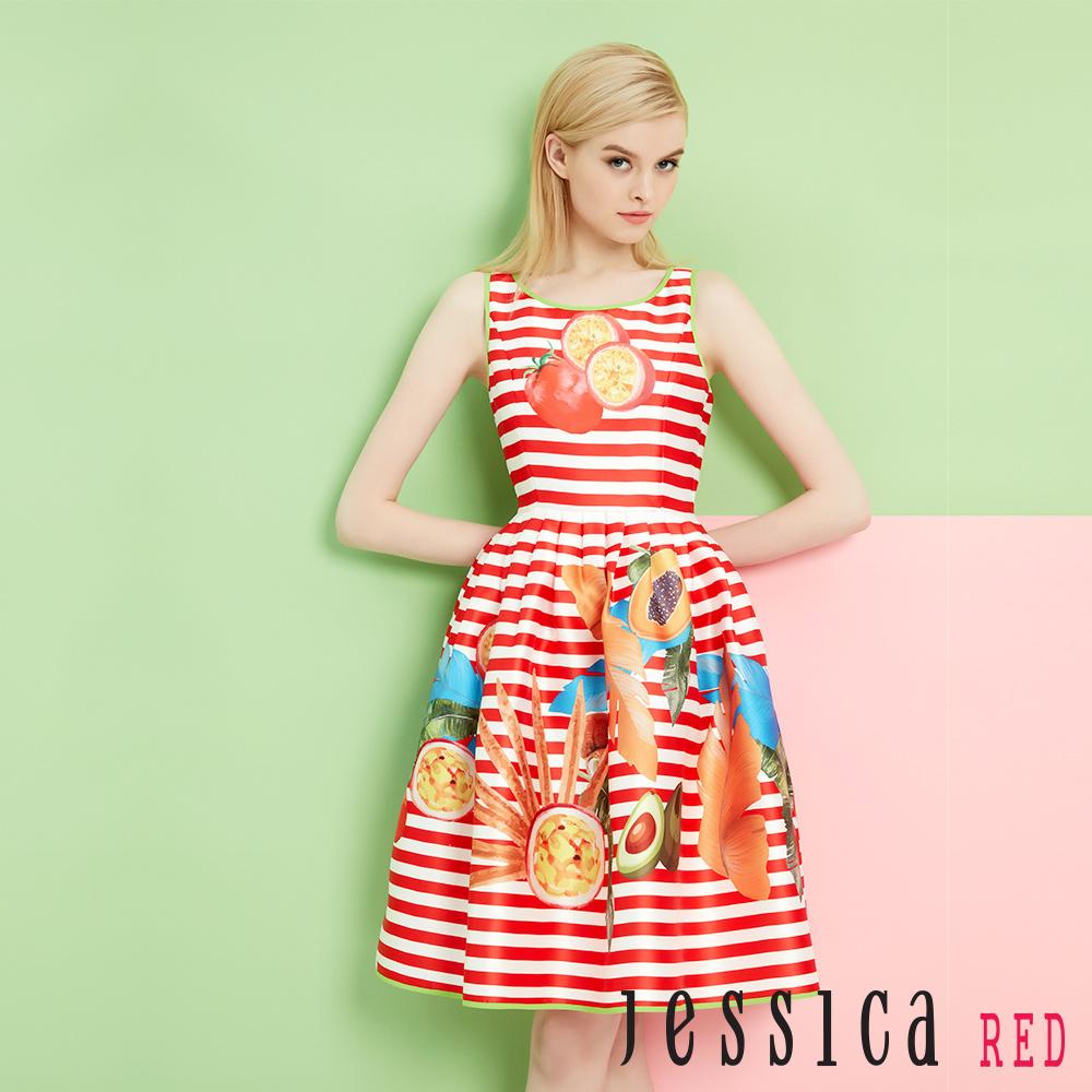 JESSICA RED - 紅白橫紋配色滾邊水果洋裝