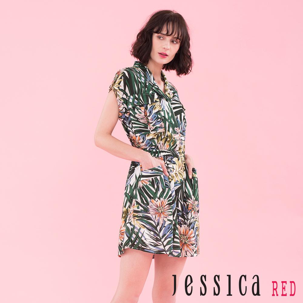 JESSICA RED - 夏日花草襯衫領洋裝