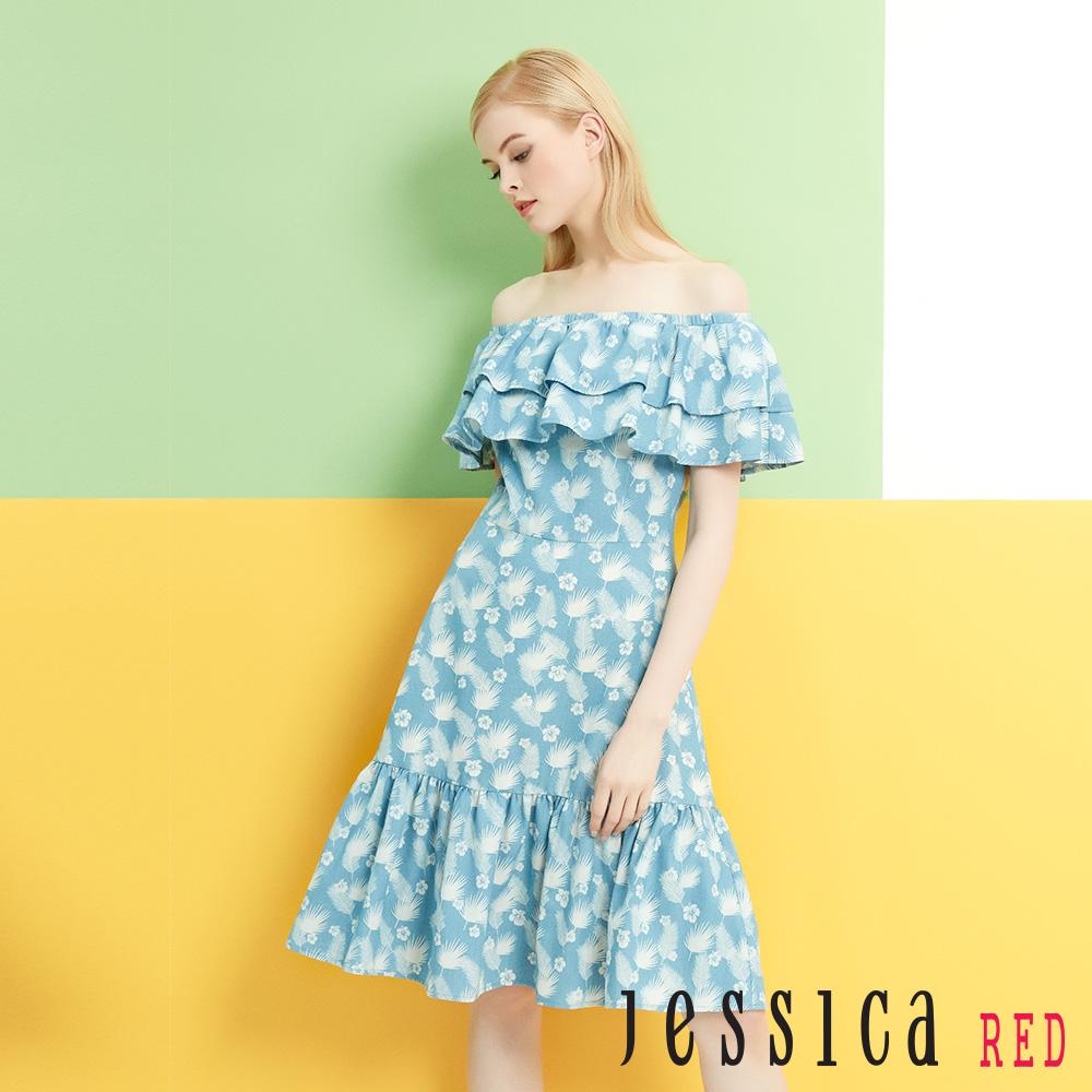 JESSICA RED - 一字領荷葉單寧碎花洋裝