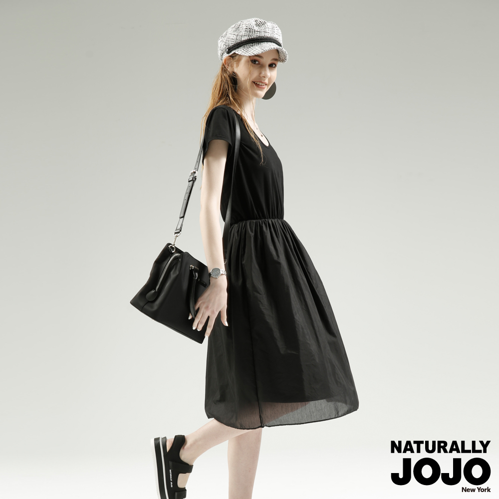 【NATURALLY JOJO】 假兩件長紗洋裝(黑)