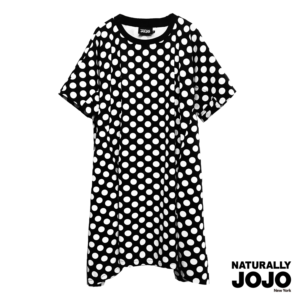 【NATURALLY JOJO】 復古圓點寬鬆洋裝 (黑)