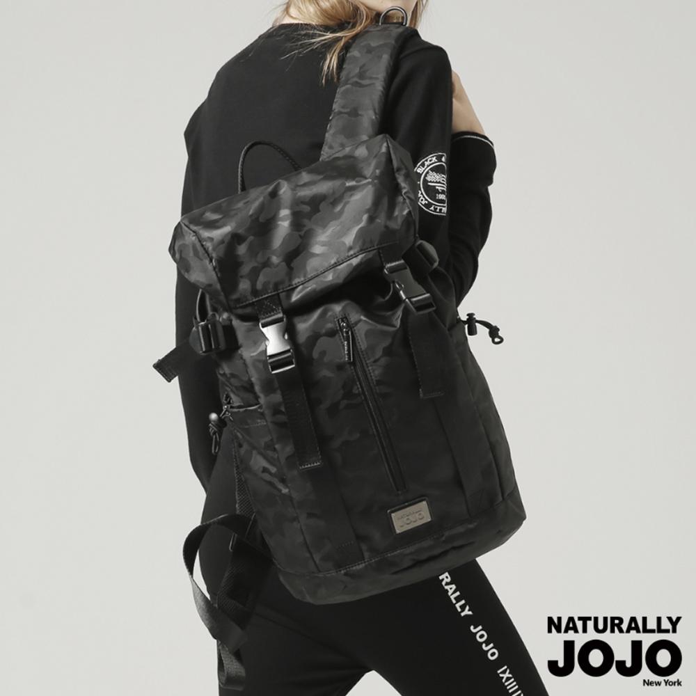 【NATURALLY JOJO】黑迷彩率性後背包 (黑)