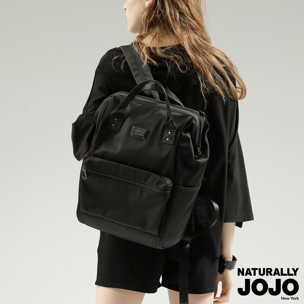 【NATURALLY JOJO】魚口萬用電腦後背包 (黑)