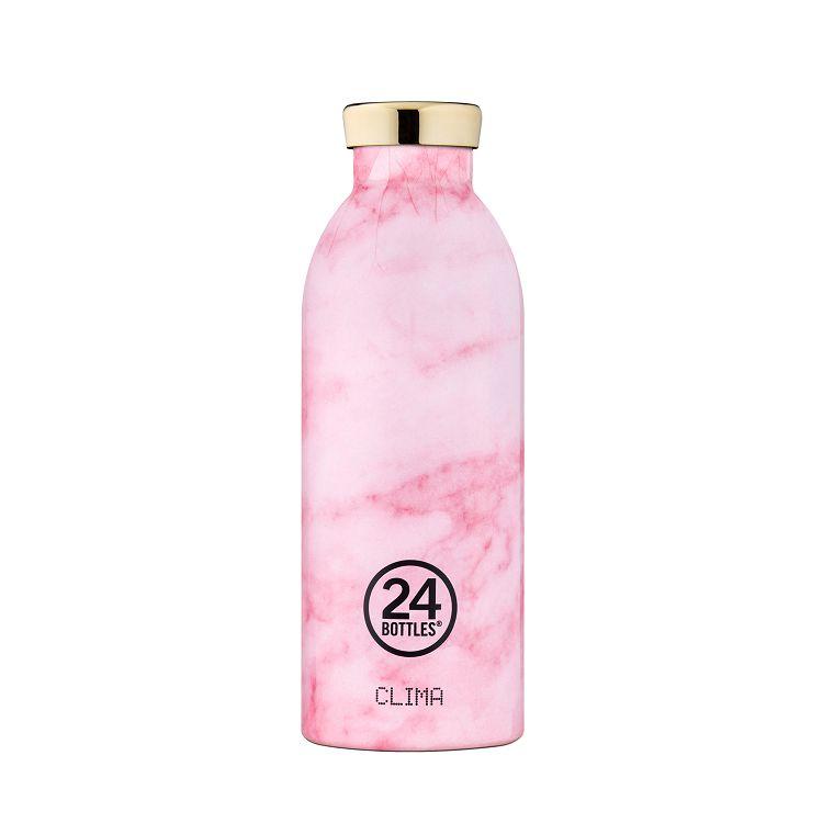 義大利 24Bottles 不鏽鋼雙層保溫瓶 500ml - 粉紅大理石