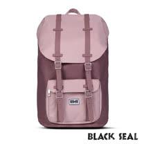 BLACK SEAL 聯名8848系列-撞色拼接雙皮帶釦機能大容量後背包- 磚紅色 BS81116