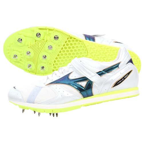 (男女) MIZUNO FIELD GEO AJ 田徑釘鞋-日本製 跳遠 美津濃 螢光黃白