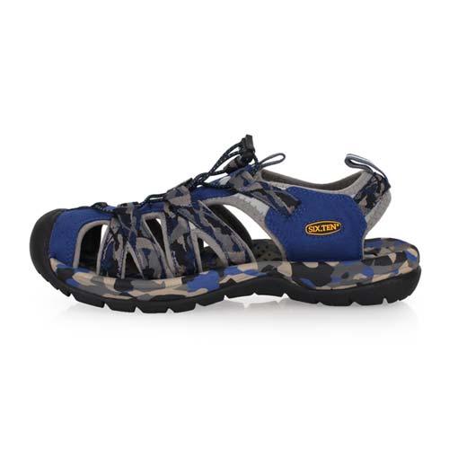 (男) SOFO 護指溯溪鞋-拖鞋 休閒涼鞋 海邊 海灘 戲水 迷彩藍黑