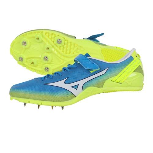 (男女) MIZUNO GEO SPRINT 2 田徑釘鞋-短距離 跨欄 美津濃 水藍螢光黃 26