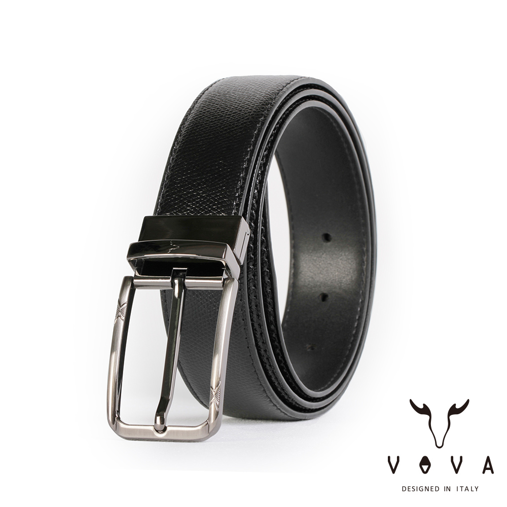 VOVA 紳士方頭穿針式可旋轉蛇紋皮帶(鎗色) VA003-002-GU