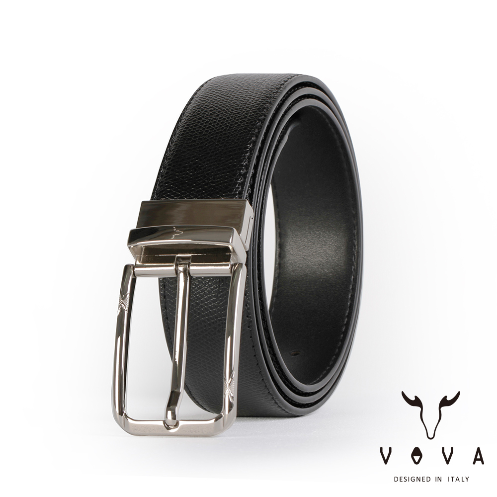VOVA 紳士方頭穿針式可旋轉蛇紋皮帶(銀色) VA003-002-NK