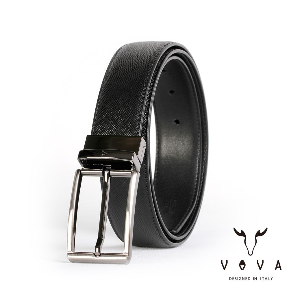 VOVA 紳士方頭穿針式可旋轉十字紋皮帶(鎗色) VA003-003-GU