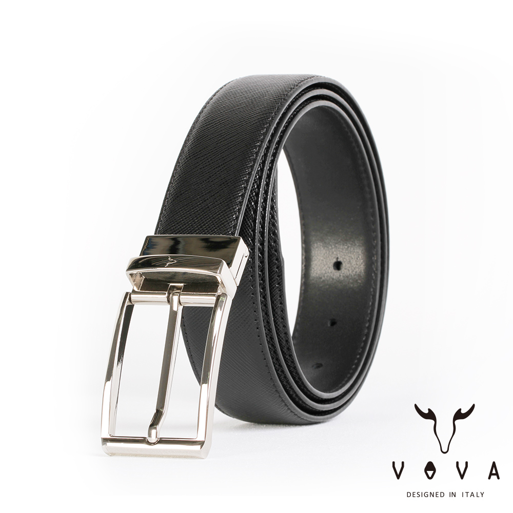 VOVA 紳士方頭穿針式可旋轉十字紋皮帶(銀色) VA003-003-NK
