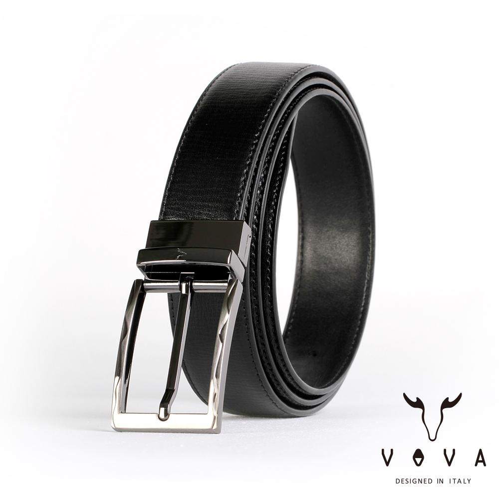 VOVA 紳士方頭波浪穿針式可旋轉樹羔紋皮帶(鎗色) VA003-004-GU