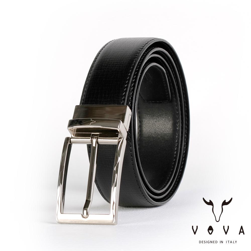 VOVA 紳士方頭波浪穿針式可旋轉樹羔紋皮帶(銀色) VA003-004-NK