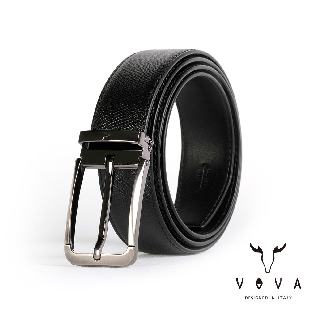 VOVA 紳士方頭穿針式蛇紋皮帶(鎗色) VA003-005-GU