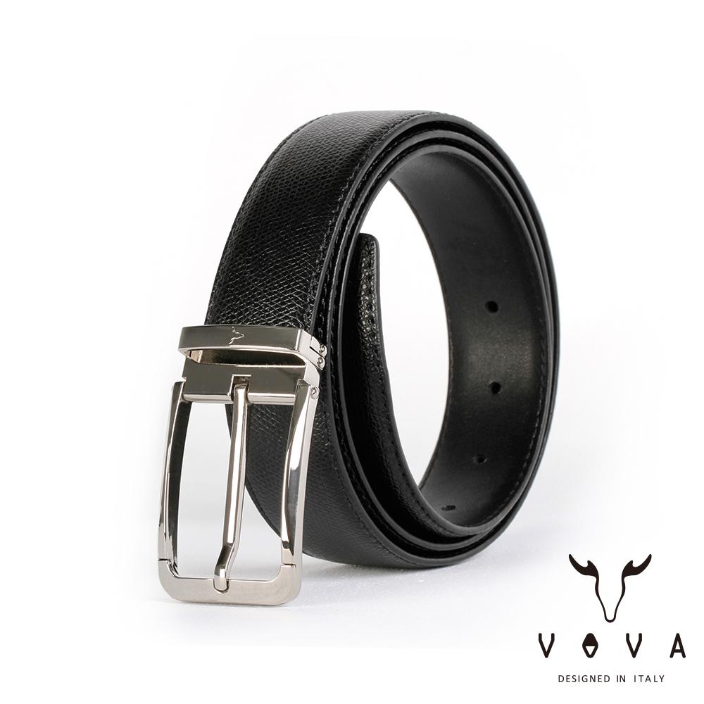 VOVA 紳士方頭穿針式蛇紋皮帶(銀色) VA003-005-NK