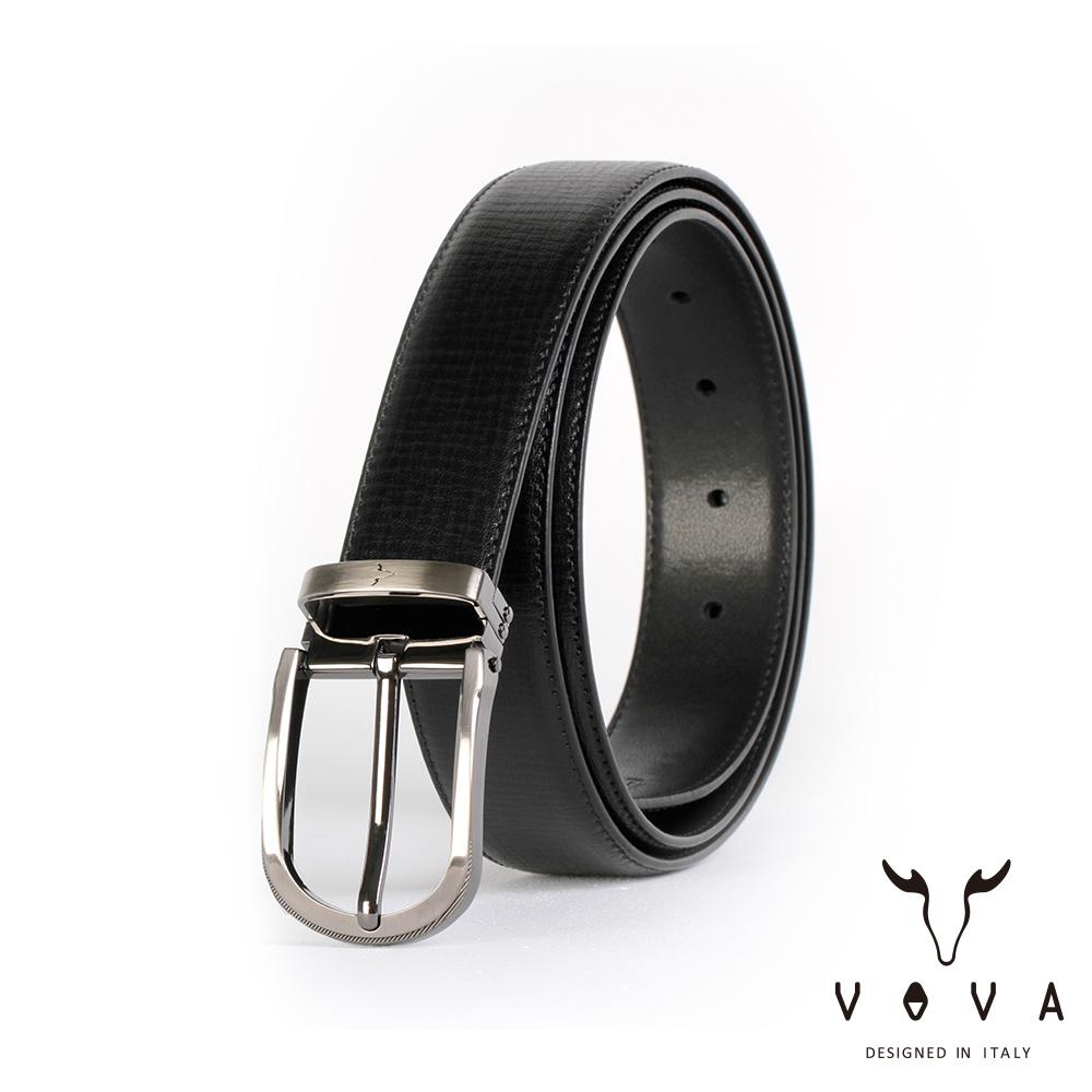 VOVA 紳士圓頭穿針式樹羔紋皮帶(鎗色) VA003-006-GU